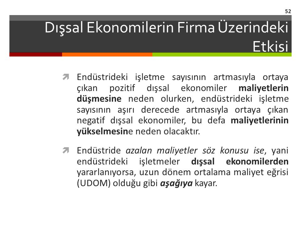 Dışsal Ekonomilerin Firma Üzerindeki Etkisi