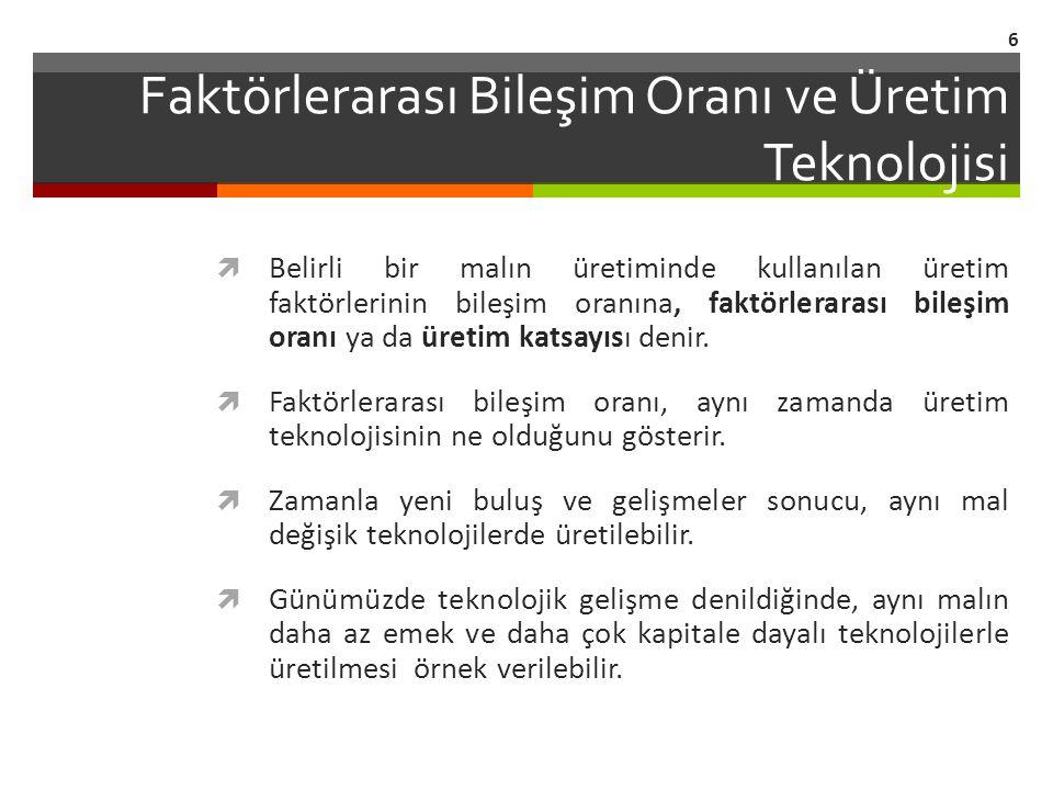 Faktörlerarası Bileşim Oranı ve Üretim Teknolojisi
