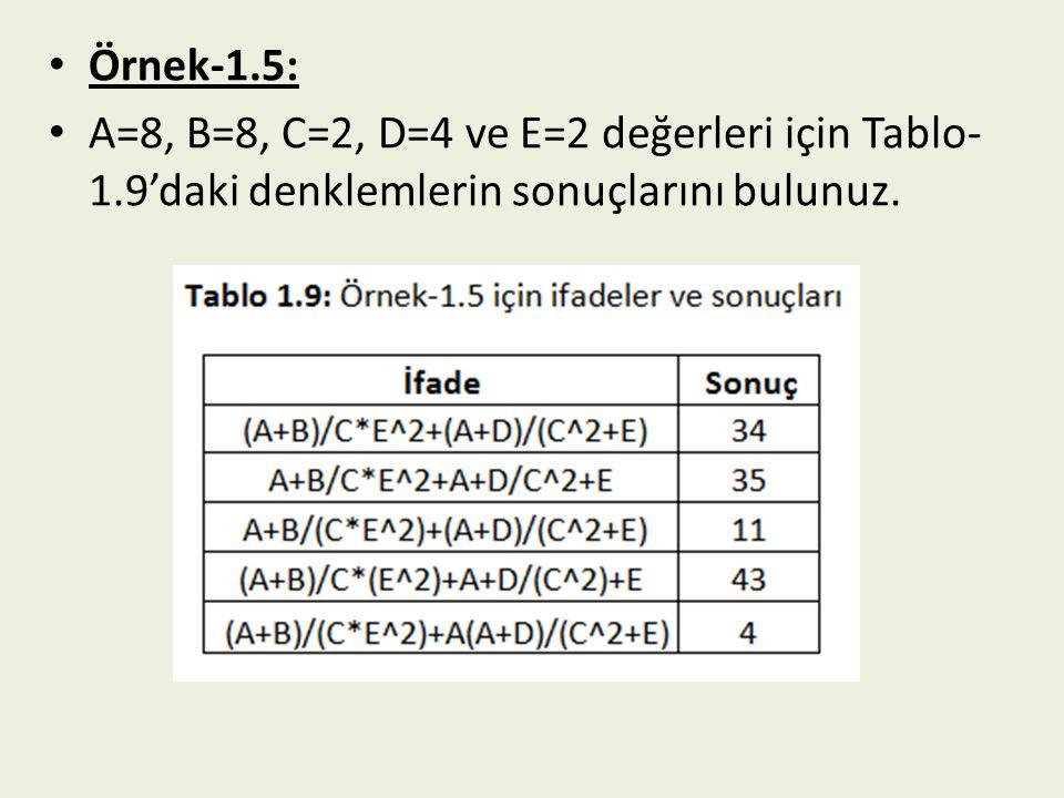 Örnek-1.5: A=8, B=8, C=2, D=4 ve E=2 değerleri için Tablo-1.9'daki denklemlerin sonuçlarını bulunuz.