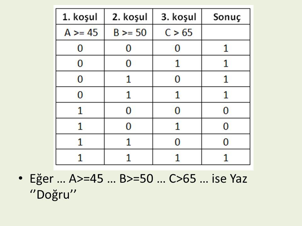 Eğer … A>=45 … B>=50 … C>65 … ise Yaz ''Doğru''