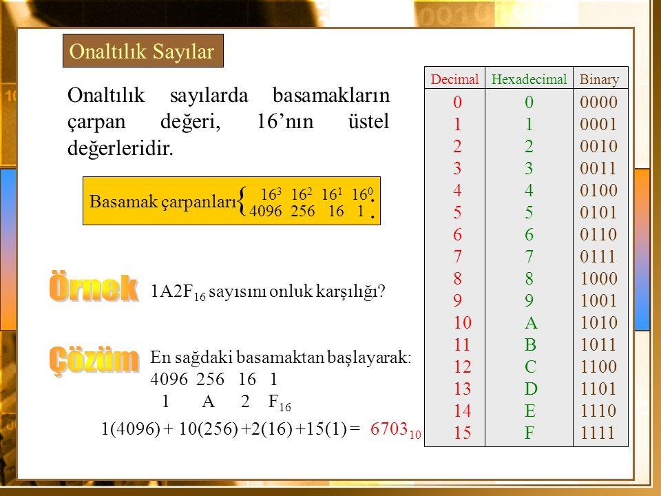 { Örnek Çözüm Onaltılık Sayılar