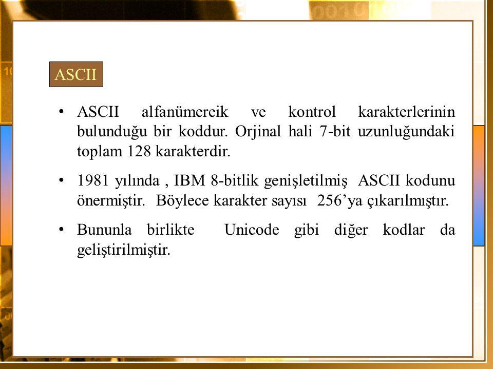 ASCII ASCII alfanümereik ve kontrol karakterlerinin bulunduğu bir koddur. Orjinal hali 7-bit uzunluğundaki toplam 128 karakterdir.