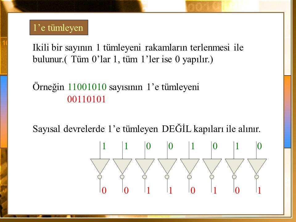 1'e tümleyen Ikili bir sayının 1 tümleyeni rakamların terlenmesi ile bulunur.( Tüm 0'lar 1, tüm 1'ler ise 0 yapılır.)