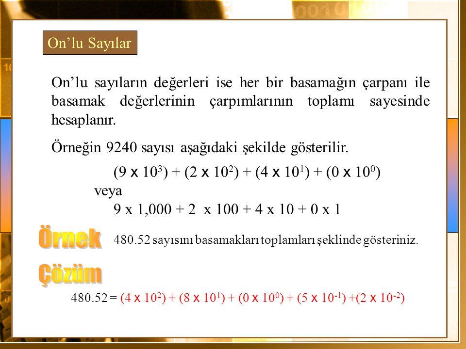 Örnek Çözüm On'lu Sayılar