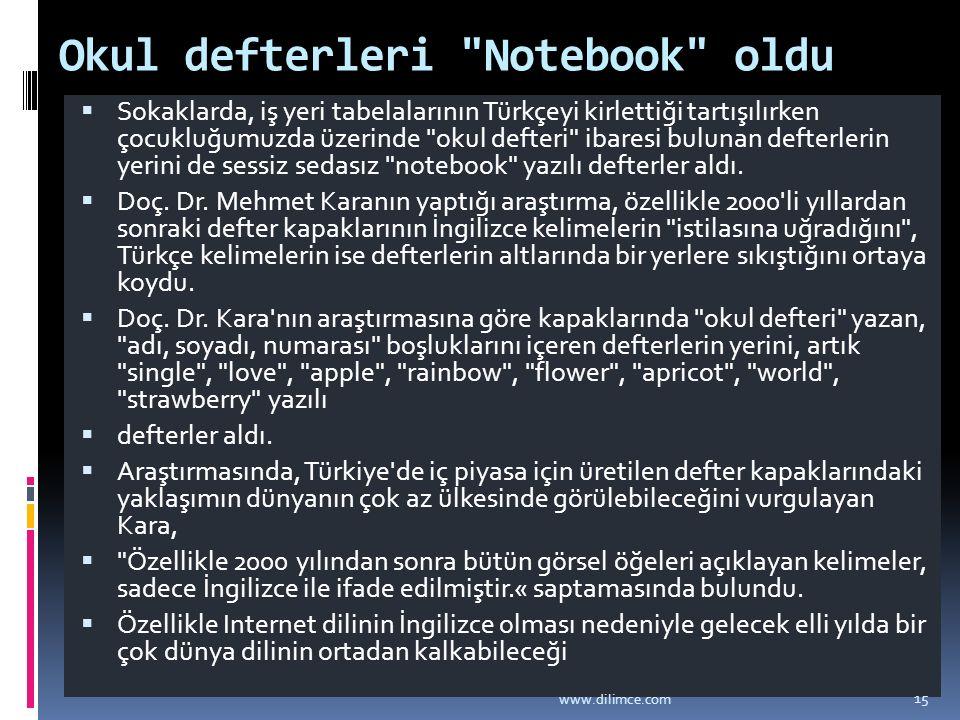 Okul defterleri Notebook oldu