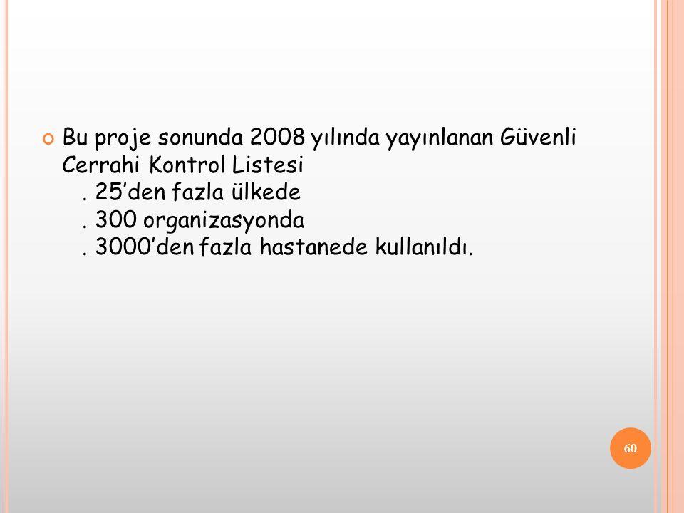 Bu proje sonunda 2008 yılında yayınlanan Güvenli Cerrahi Kontrol Listesi .