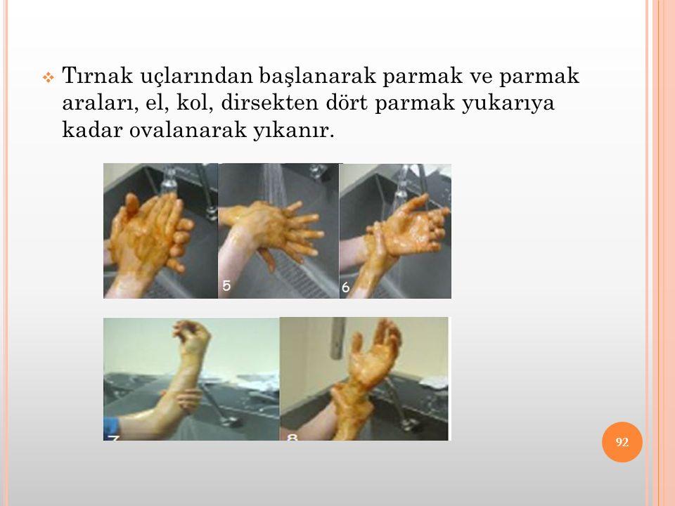 Tırnak uçlarından başlanarak parmak ve parmak araları, el, kol, dirsekten dört parmak yukarıya kadar ovalanarak yıkanır.