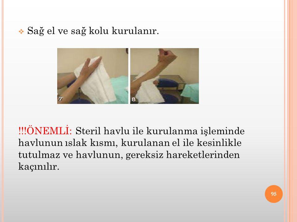 Sağ el ve sağ kolu kurulanır.