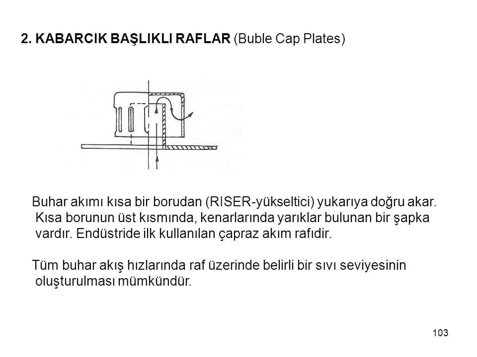 2. KABARCIK BAŞLIKLI RAFLAR (Buble Cap Plates)