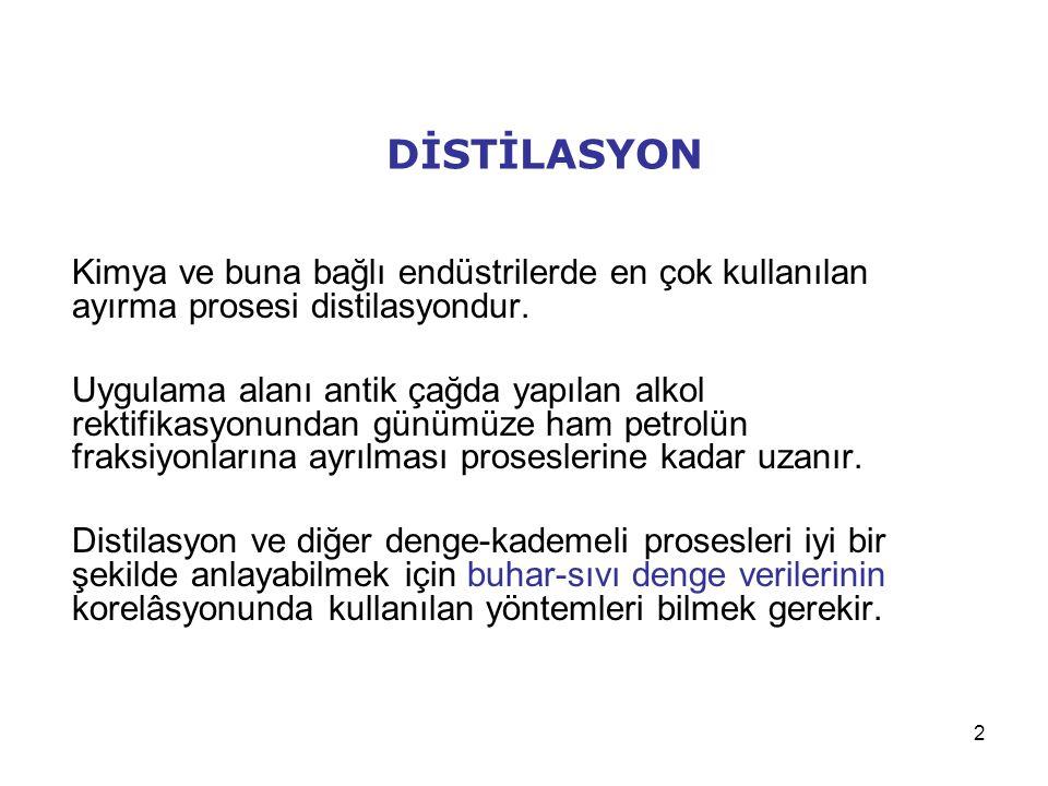 DİSTİLASYON Kimya ve buna bağlı endüstrilerde en çok kullanılan ayırma prosesi distilasyondur.