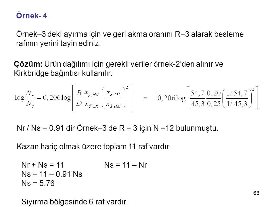 Örnek- 4 Örnek–3 deki ayırma için ve geri akma oranını R=3 alarak besleme. rafının yerini tayin ediniz.