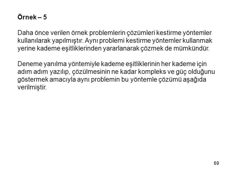 Örnek – 5 Daha önce verilen örnek problemlerin çözümleri kestirme yöntemler. kullanılarak yapılmıştır. Aynı problemi kestirme yöntemler kullanmak.