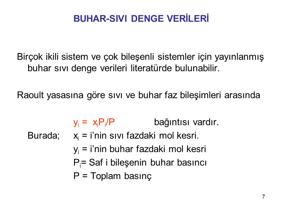 BUHAR-SIVI DENGE VERİLERİ