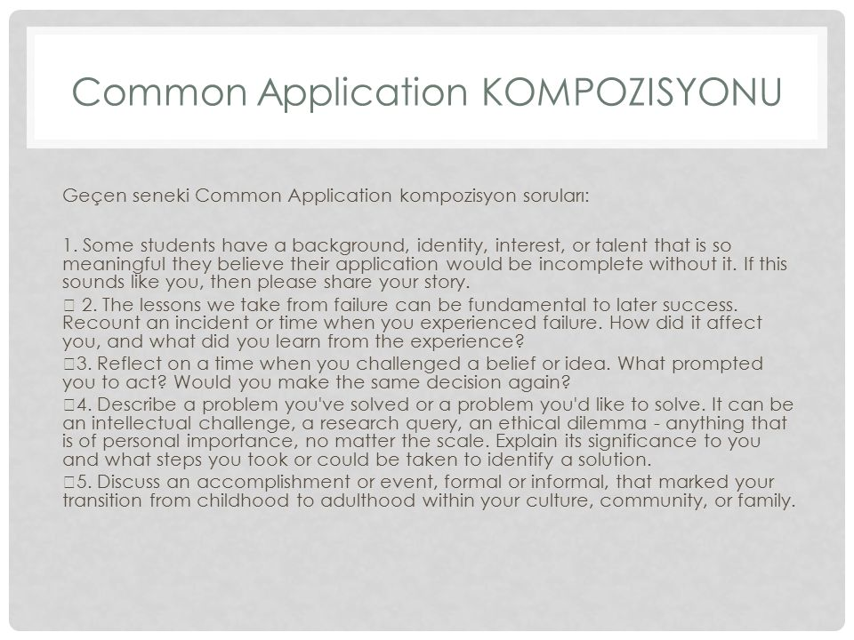 Common Application Kompozisyonu