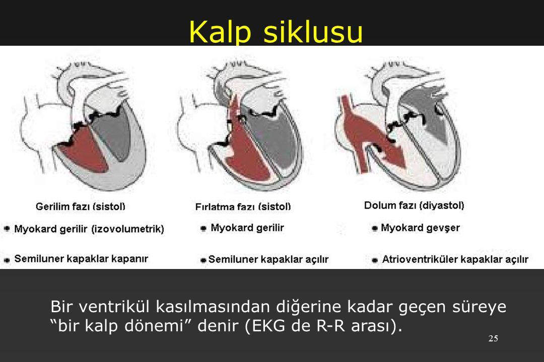 Kalp siklusu Bir ventrikül kasılmasından diğerine kadar geçen süreye bir kalp dönemi denir (EKG de R-R arası).