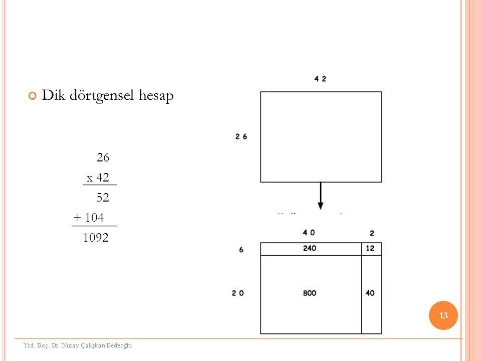Dik dörtgensel hesap 26 x 42 52 + 104 1092