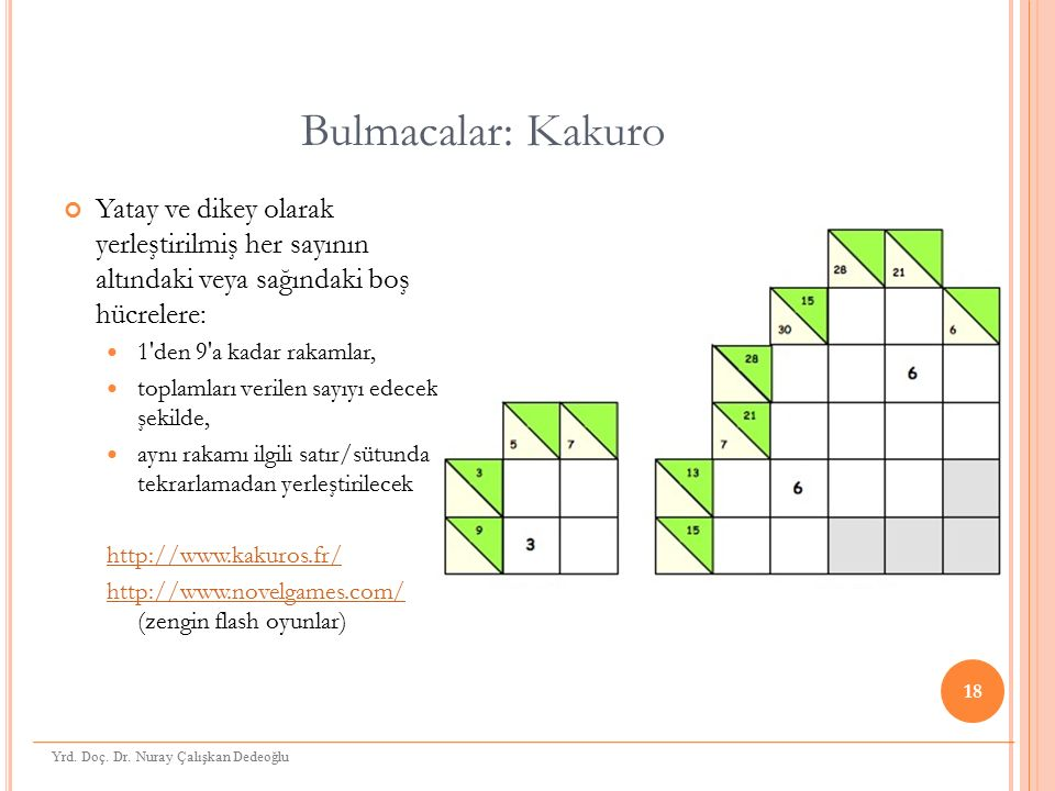 Bulmacalar: Kakuro Yatay ve dikey olarak yerleştirilmiş her sayının altındaki veya sağındaki boş hücrelere: