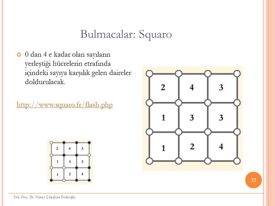 Bulmacalar: Squaro 0 dan 4 e kadar olan sayıların yerleştiği hücrelerin etrafında içindeki sayıya karşılık gelen daireler doldurulacak.