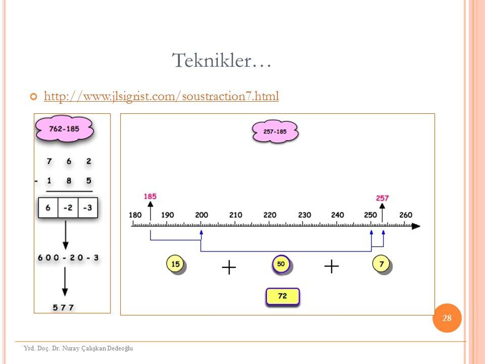 Teknikler… http://www.jlsigrist.com/soustraction7.html