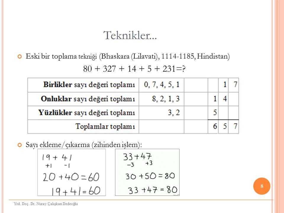 Teknikler... Eski bir toplama tekniği (Bhaskara (Lilavati), 1114-1185, Hindistan) 80 + 327 + 14 + 5 + 231=