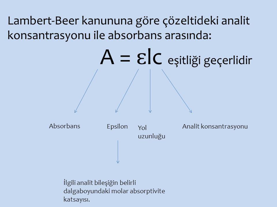 A = ɛlc eşitliği geçerlidir