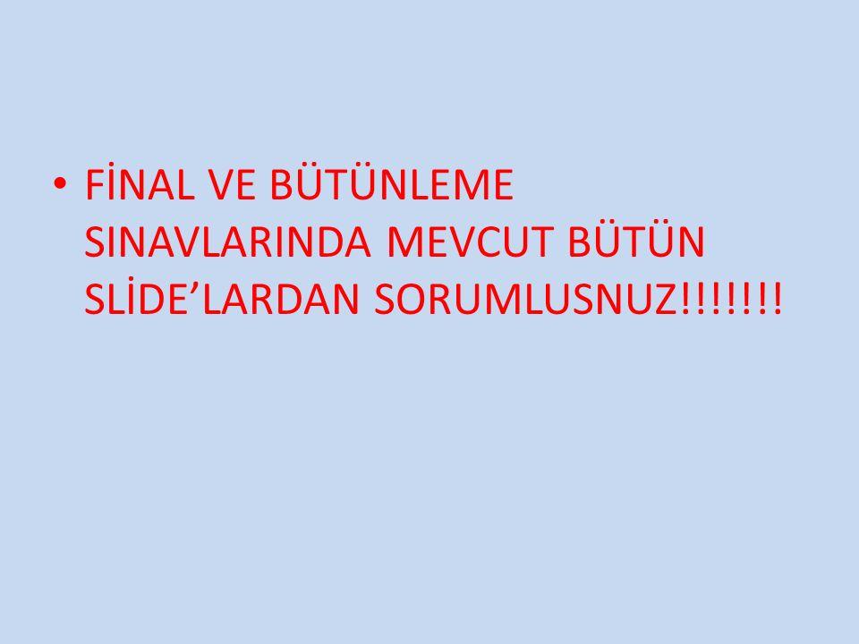 FİNAL VE BÜTÜNLEME SINAVLARINDA MEVCUT BÜTÜN SLİDE'LARDAN SORUMLUSNUZ!!!!!!!