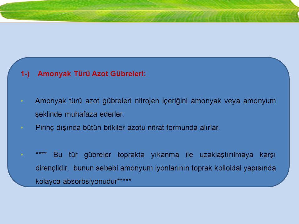 1-) Amonyak Türü Azot Gübreleri: