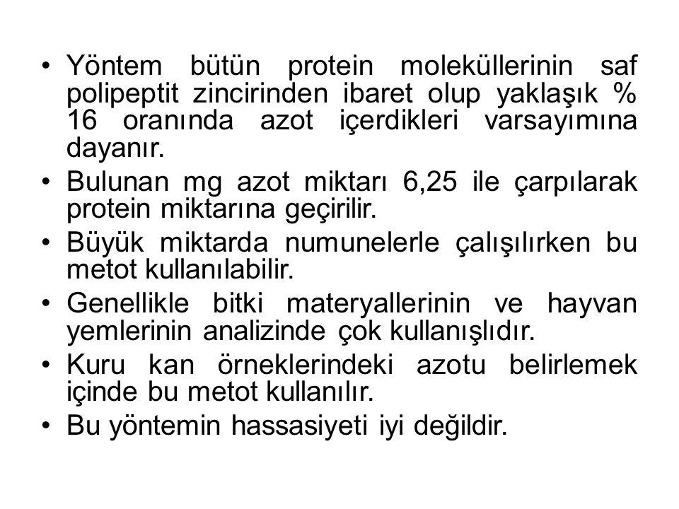 Yöntem bütün protein moleküllerinin saf polipeptit zincirinden ibaret olup yaklaşık % 16 oranında azot içerdikleri varsayımına dayanır.