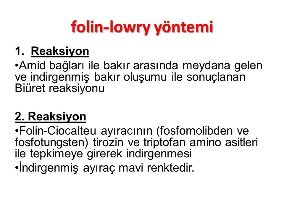 folin-lowry yöntemi Reaksiyon