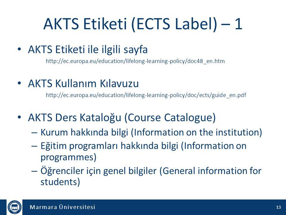 AKTS Etiketi (ECTS Label) – 1
