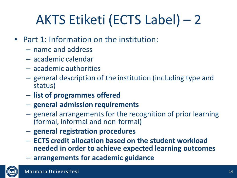 AKTS Etiketi (ECTS Label) – 2