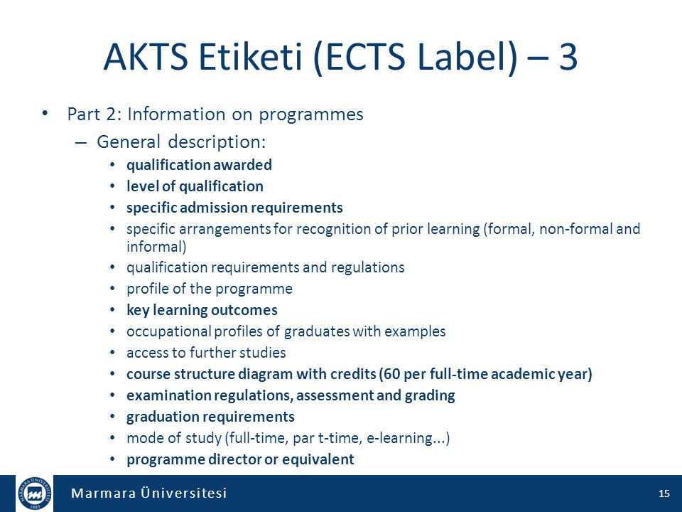 AKTS Etiketi (ECTS Label) – 3