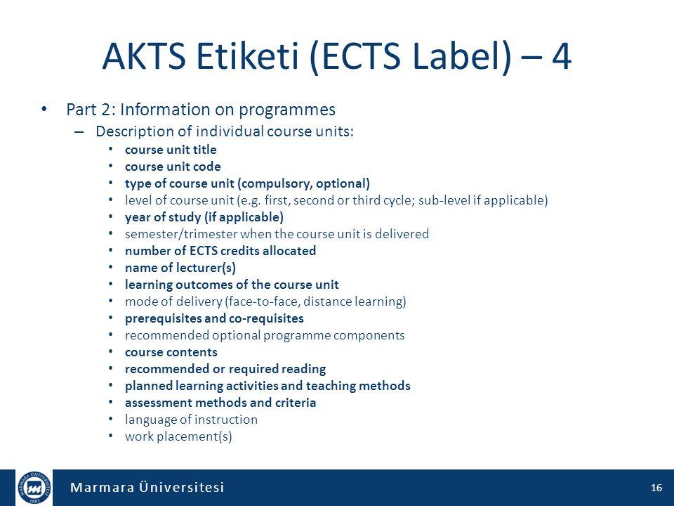 AKTS Etiketi (ECTS Label) – 4
