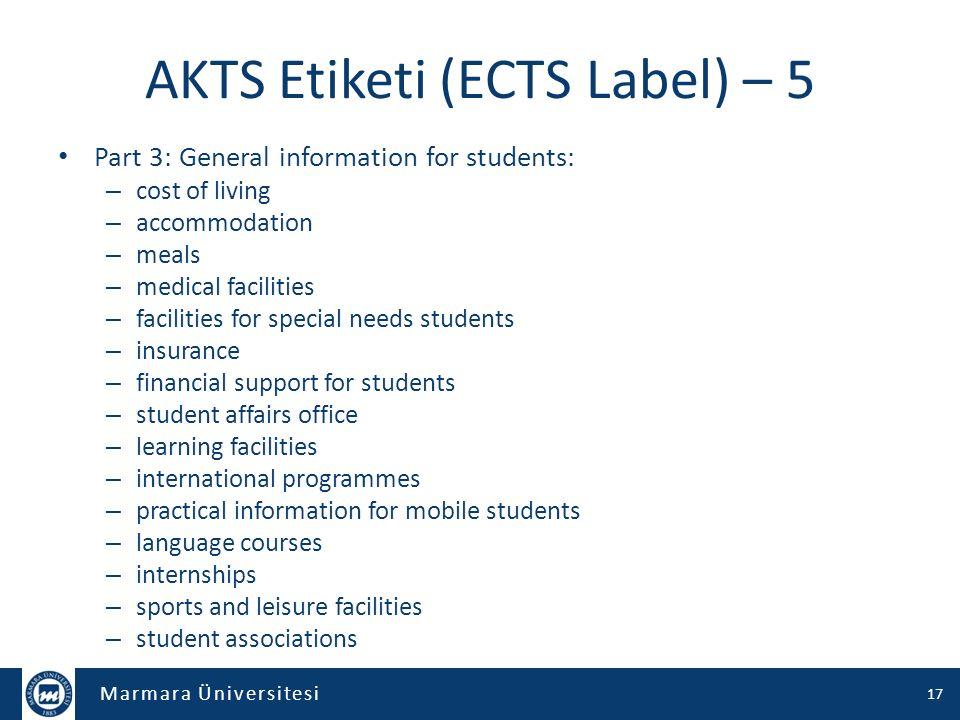 AKTS Etiketi (ECTS Label) – 5