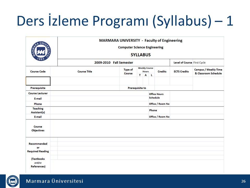 Ders İzleme Programı (Syllabus) – 1