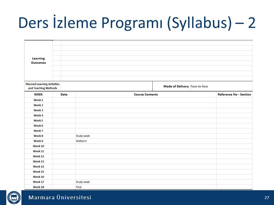Ders İzleme Programı (Syllabus) – 2