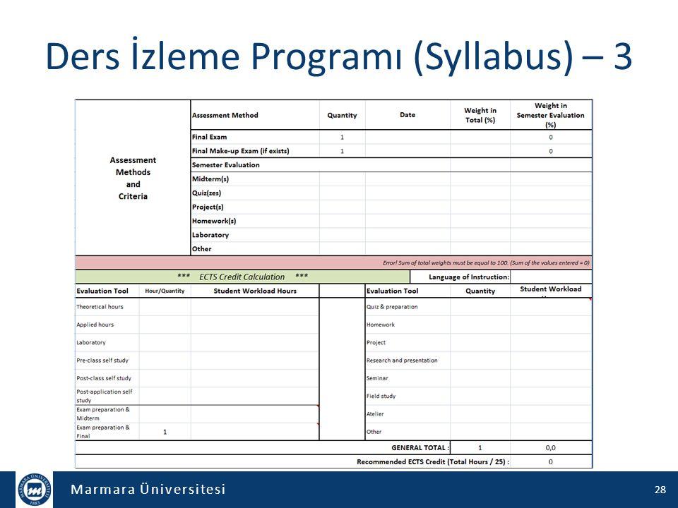 Ders İzleme Programı (Syllabus) – 3