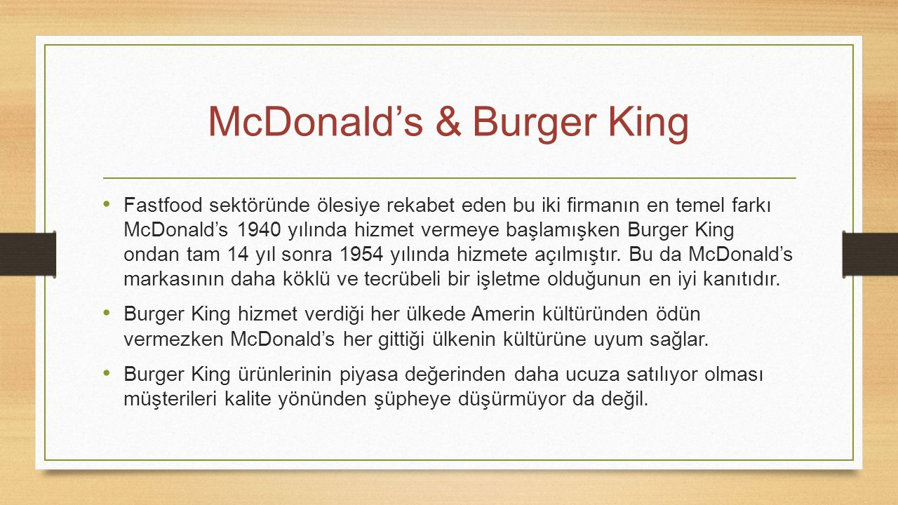 McDonald's & Burger King