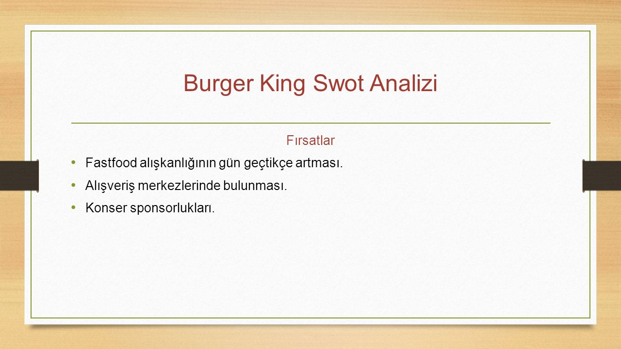 Burger King Swot Analizi
