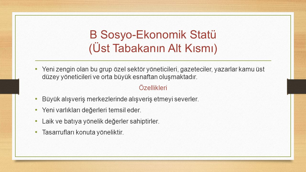 B Sosyo-Ekonomik Statü (Üst Tabakanın Alt Kısmı)