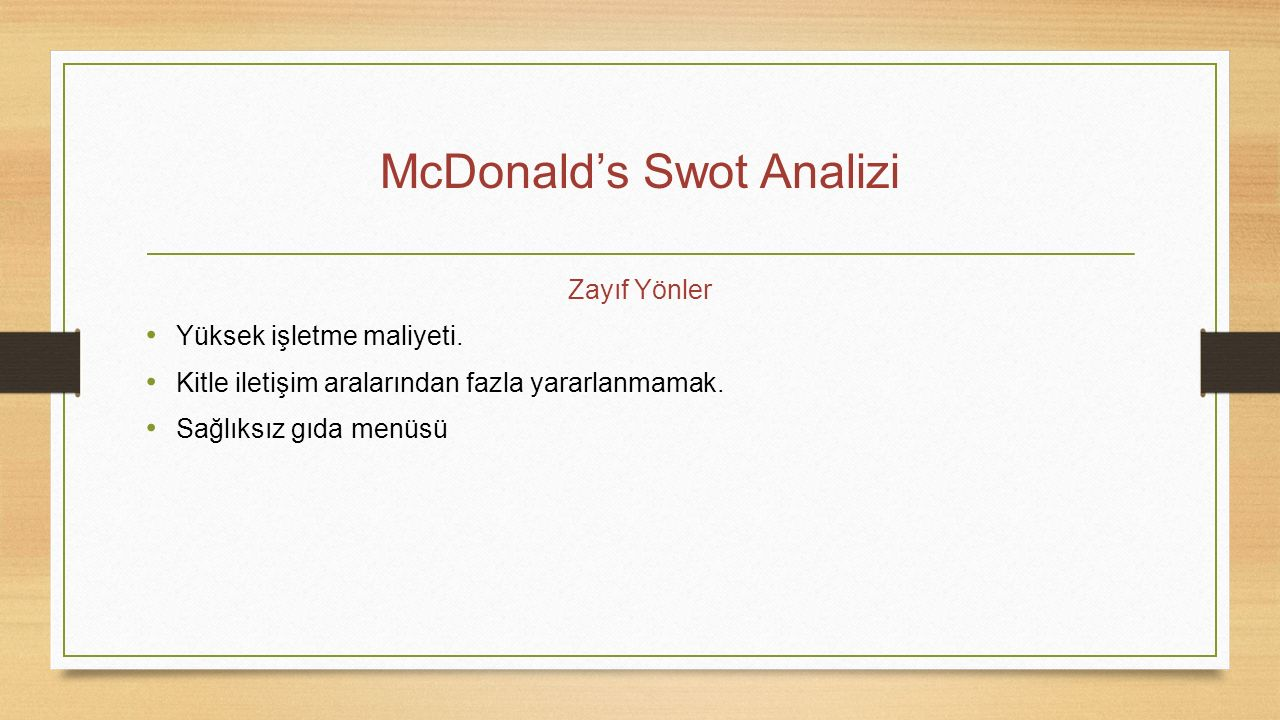 McDonald's Swot Analizi