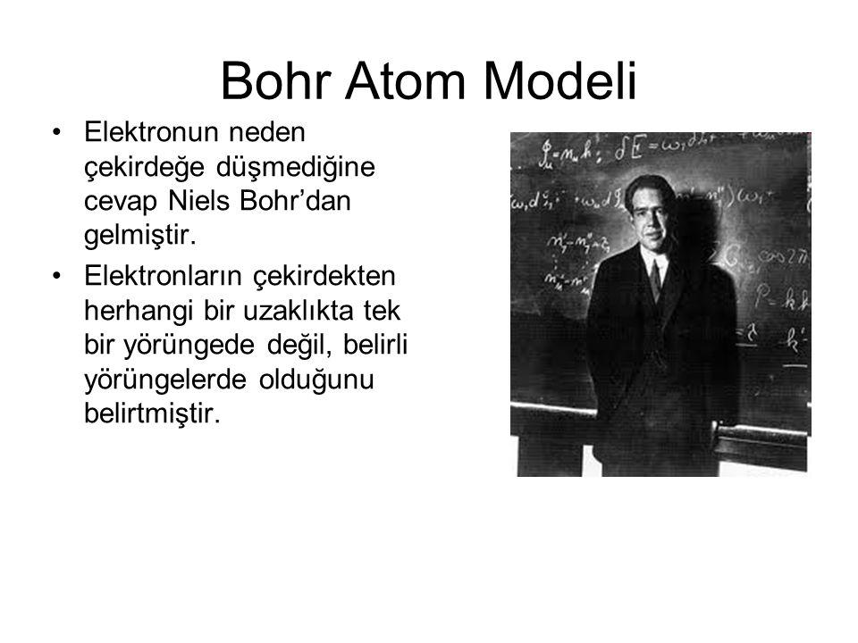 Bohr Atom Modeli Elektronun neden çekirdeğe düşmediğine cevap Niels Bohr'dan gelmiştir.