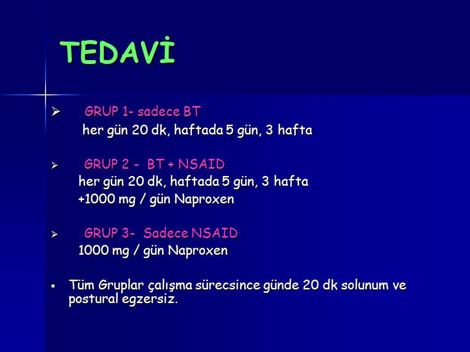 TEDAVİ GRUP 1- sadece BT her gün 20 dk, haftada 5 gün, 3 hafta