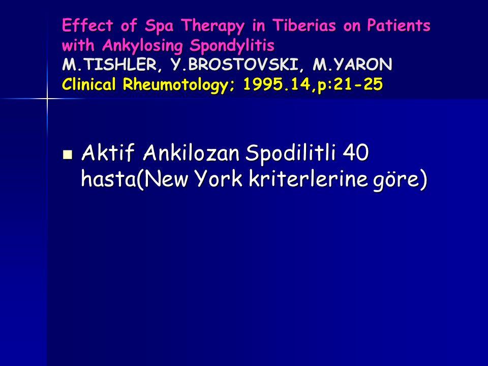Aktif Ankilozan Spodilitli 40 hasta(New York kriterlerine göre)