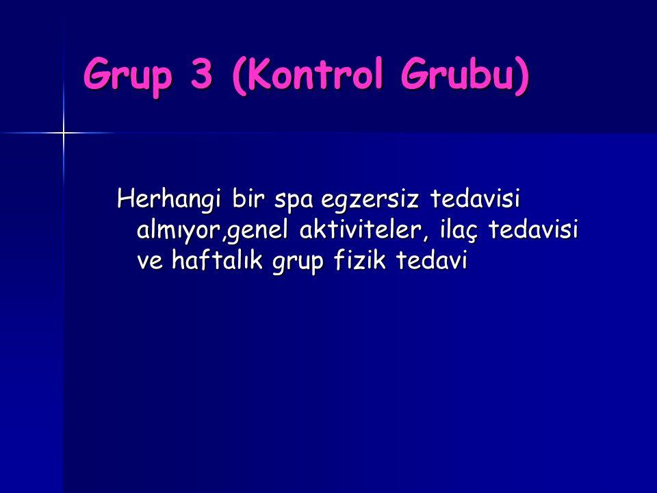 Grup 3 (Kontrol Grubu) Herhangi bir spa egzersiz tedavisi almıyor,genel aktiviteler, ilaç tedavisi ve haftalık grup fizik tedavi.