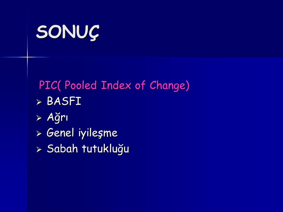 SONUÇ PIC( Pooled Index of Change) BASFI Ağrı Genel iyileşme