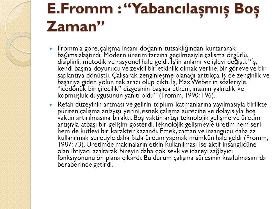 E.Fromm : Yabancılaşmış Boş Zaman