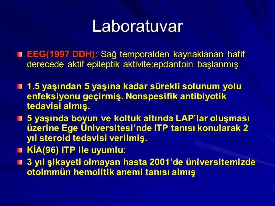 Laboratuvar EEG(1997 DDH): Sağ temporalden kaynaklanan hafif derecede aktif epileptik aktivite:epdantoin başlanmış.