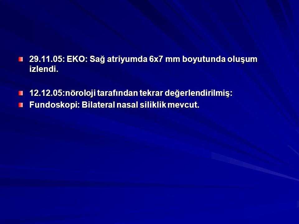 29.11.05: EKO: Sağ atriyumda 6x7 mm boyutunda oluşum izlendi.