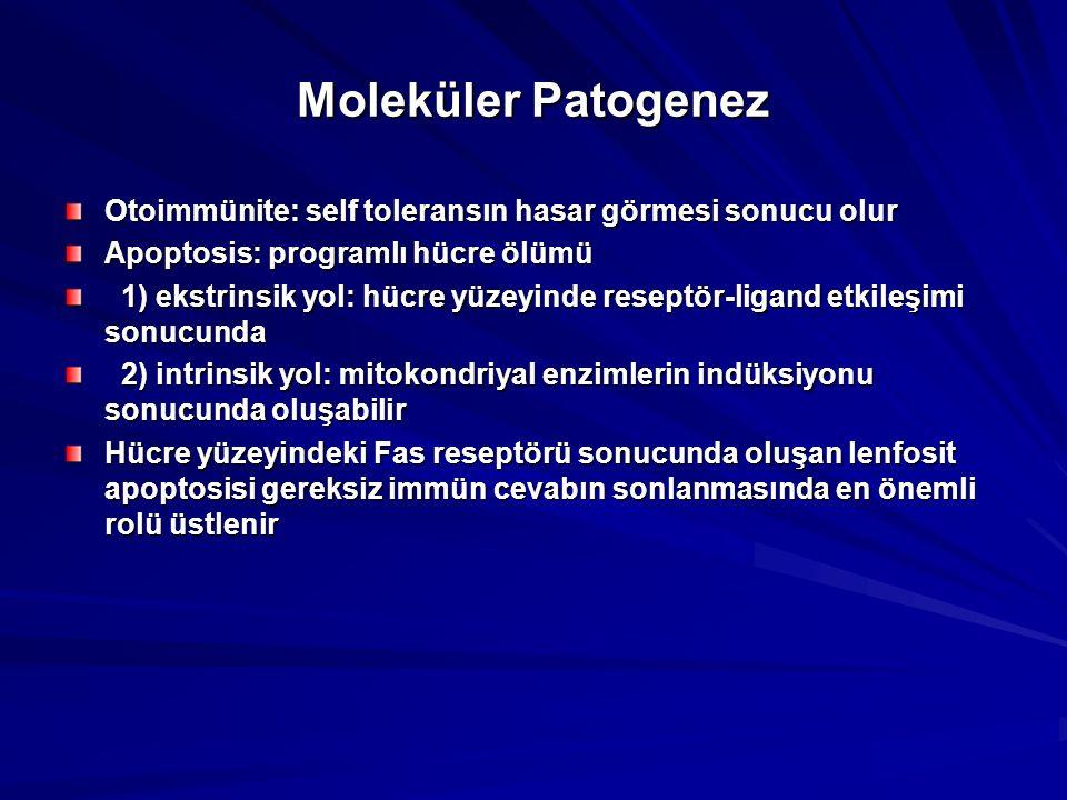Moleküler Patogenez Otoimmünite: self toleransın hasar görmesi sonucu olur. Apoptosis: programlı hücre ölümü.